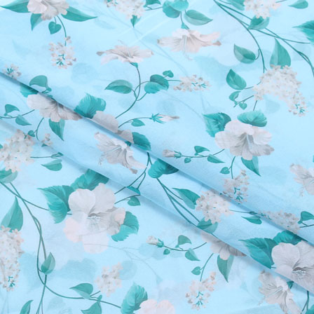 Green White Flower Georgette Silk Fabric-15087